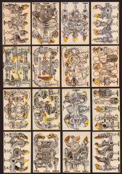 "Yellow bird Machines (1-16 each collage is 7.5""x 4"") 16 collages comprising one whole collage."